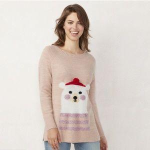 LC Lauren Conrad Happy Bear Graphic Tunic Sweater